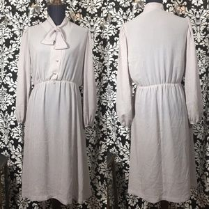 Vintage Semi-Sheer Vertical Stripe Secretary Dress